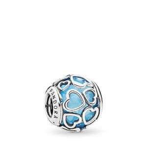 2 NWOT pandora encased in love charms sky blue